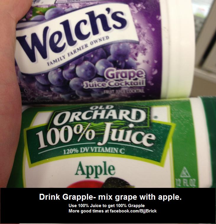 Grape Juice mixed with Apple Juice to make grappling juice for BJJ