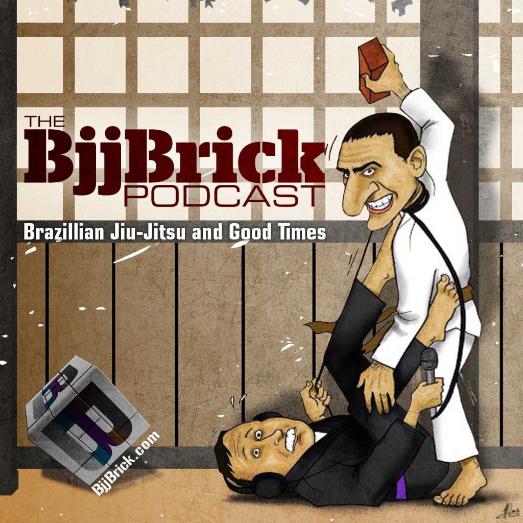 Byron throwing a brick at Gray as he chokes him with a mic cord.New art work for the podcast