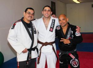 Byron as a new brown belt,  with John Castillo and Renato Tavares