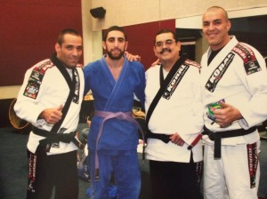 Byron new purple belt with Roberto Tozi, John Castillo, and Marcio Laselva