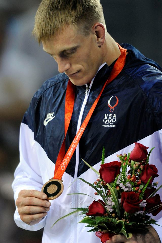 Adam Wheeler being awarded the bronze medal in the 2008 Olympics